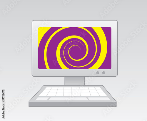 Computer with purple yellow spiral on screen