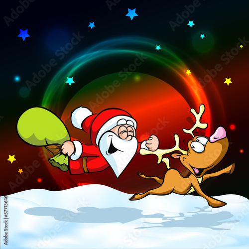 funny vector illustration of santa with reindeer