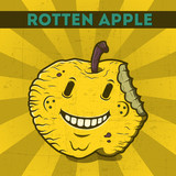Cartoon rotten apple, on the scratchy retro background.