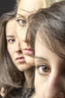 Three young beautiful girls close-up portrait color image