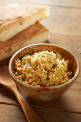 Cold cous cous salad with vegetables