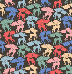 Seamless pattern of bright many horses.