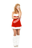 Beautiful christmas girl isolated on white background