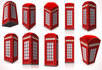 Set of English Red Telephone Cabin