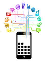 gommette-smartphone réseau multicolor
