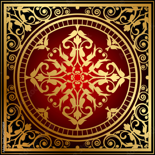 Vector illustration of oriental red & gold rug