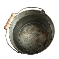 rusty bucket of water with clipping path