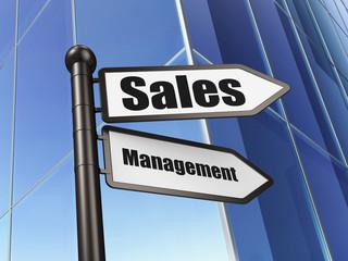 Marketing concept: Sales Management on Building background