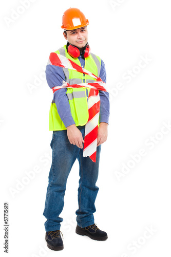 Worker wrapped in tape isolated on white