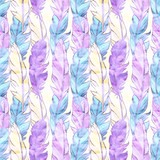 Vector seamless pattern with colored feathers