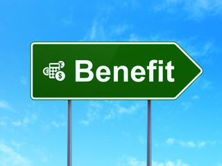 Business concept: Benefit and Calculator on road sign background