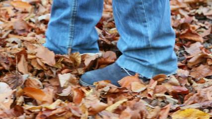 Walking on fallen leaves in the forest
