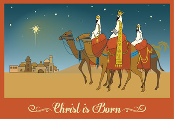 Three Wise Men Following the Bethlehem Star