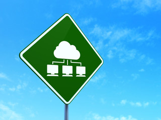 Cloud networking concept: Cloud Network on road sign background