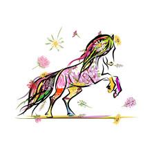 Croquis de cheval avec décor floral pour votre design. Symbole du