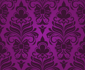 Seamless purple ornament vector pattern.