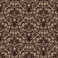 Seamless brown floral vector wallpaper pattern.