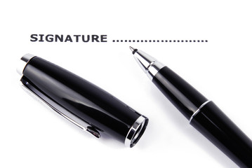 signature and pen isolated  macro