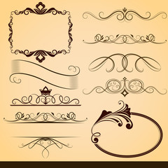 Vintage calligraphic vector design elements isolated on beige ba