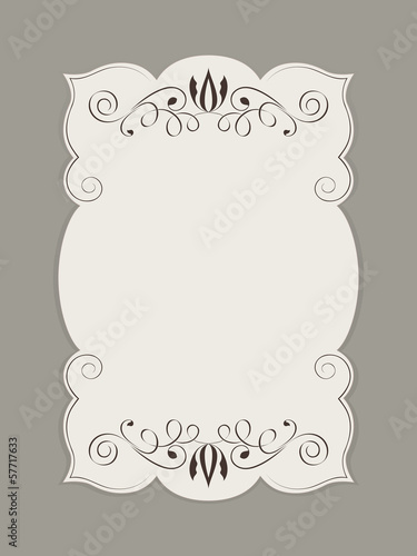 Blank figured card with floral ornament