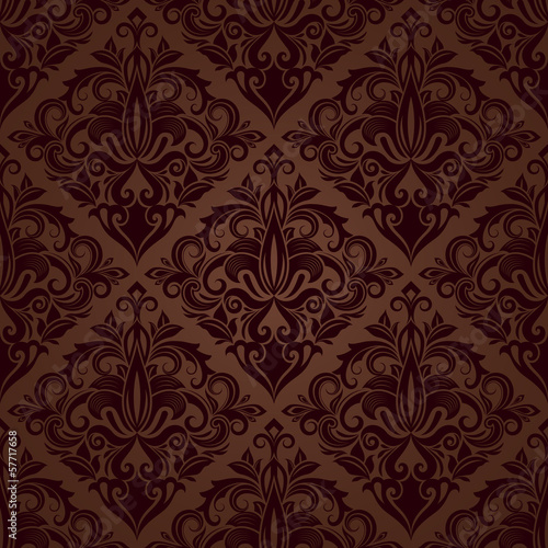Foto op Canvas Kunstmatig Seamless brown floral vector wallpaper pattern.