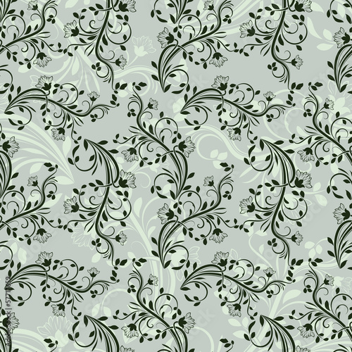 Seamless green floral vector wallpaper pattern.