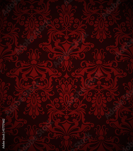 Seamless dark red vintage wallpaper pattern.