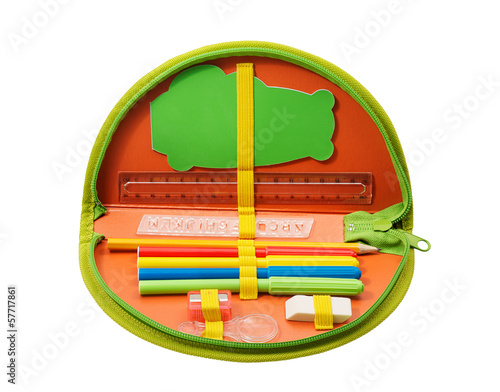 Pencil case with various stationery isolated on white background