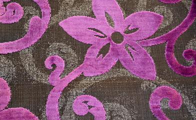 Textura de tela con flores en tonos lila