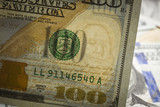 Close Up Watermark on New U.S. One Hundred Dollar Bill poster