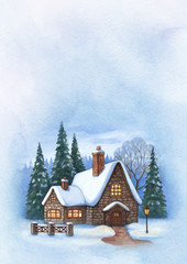 Christmas greeting card with illustration of winter landscape