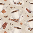 Watercolor illustrations of coffee cup. Seamless pattern