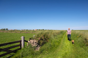 Walking with dog on Dutch Texel