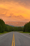 Liard River valley Alaska Highway BC Canada sunset
