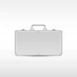 Silver metal briefcase. Vector eps10.