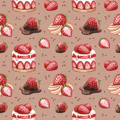 Seamless pattern with strawberry cake illustrations