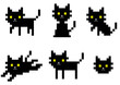 pixel black cat character
