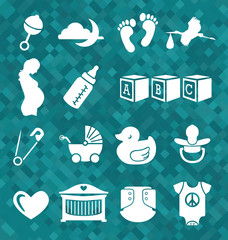 Vector Set: Newborn Baby Icons and Symbols