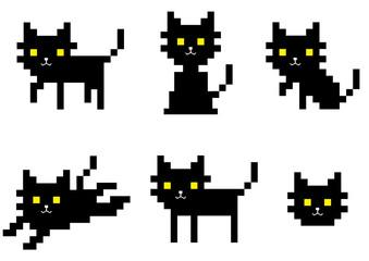 pixel black cat character