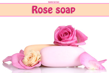 Two soap with roses  isolated on white