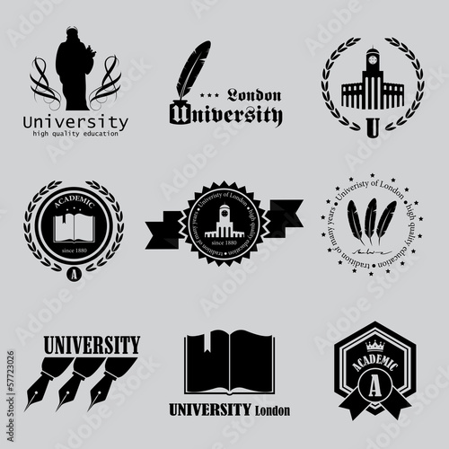 University Labels Set - Isolated On Background - Vector
