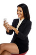Happy business woman with a smartphone