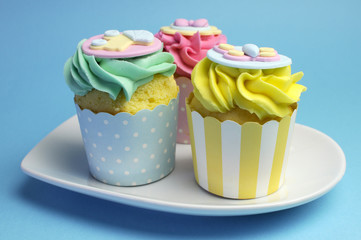 Pink, Aqua & Yellow Baby Shower Infant Cupcakes