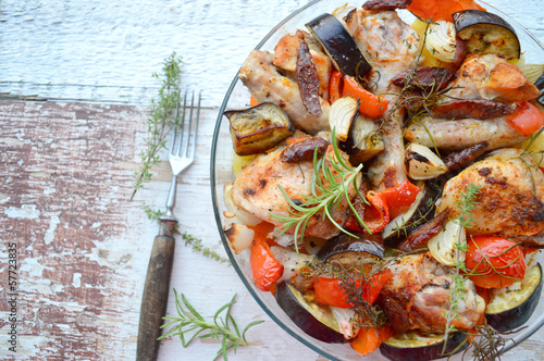 chicken casserole with chorizo, eggplant and potatoes