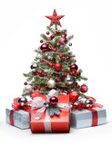Decorated Christmas tree and gifts - 57724097