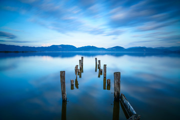Wooden pier or jetty remains on lake. Versilia Tuscany, Italy