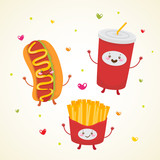 Cute fast food. Hot dog, soda, french fries.