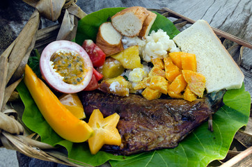 Tropical food dish in Aitutaki Lagoon Cook Islands