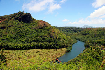 Wailua River Mountain Landscape Kauai Hawaii Island