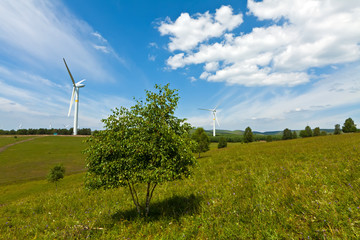 wind power generator on the grassland